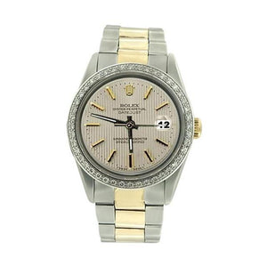 Diamond Bezel Ss & Gold Rolex Men Datejust Watch Stick Dial Rolex