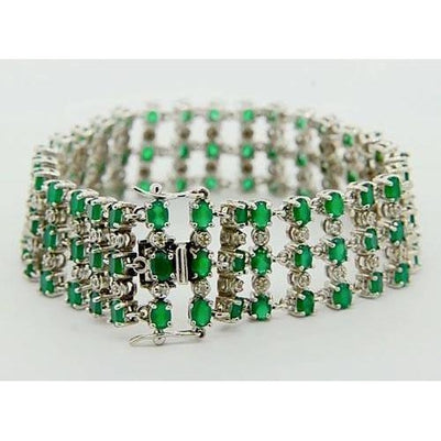Diamond Carpet Bracelet Columbian Green Emerald 48.36 Carats Prong Set Gemstone Bracelet