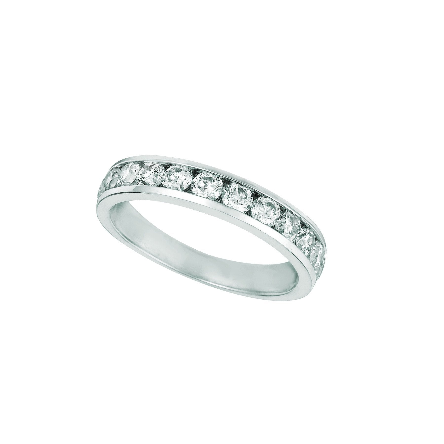 Diamond Channel Eternity Band 1.01 Carats 14K White Eternity Band