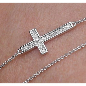 Diamond Cross Bracelet 2 Carats White Gold 14K Jewelry Tennis Bracelet