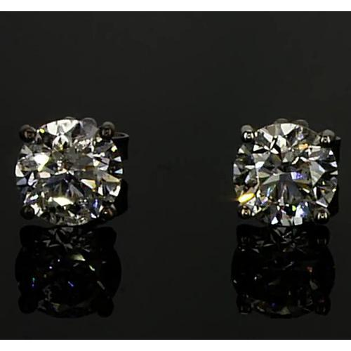Diamond Earrings 1.50 Carats Round Stud Prong Set White Gold 14K E Vvs1 Stud Earrings