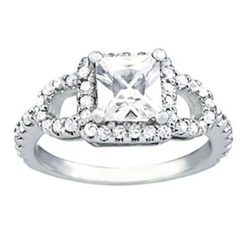 Diamond Engagement Fancy Halo Ring White Gold 1.50 Cts. Halo Ring