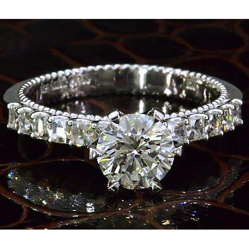 Diamond Engagement Ring 2.50 Carats Vintage Style White Gold Solitaire Ring with Accents