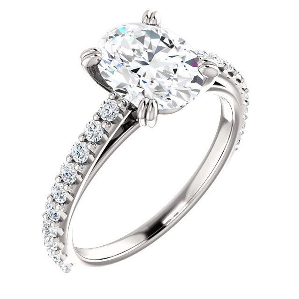 Diamond Engagement Ring 2.60 Carats Claw Prong Setting Accented White Gold Solitaire Ring with Accents
