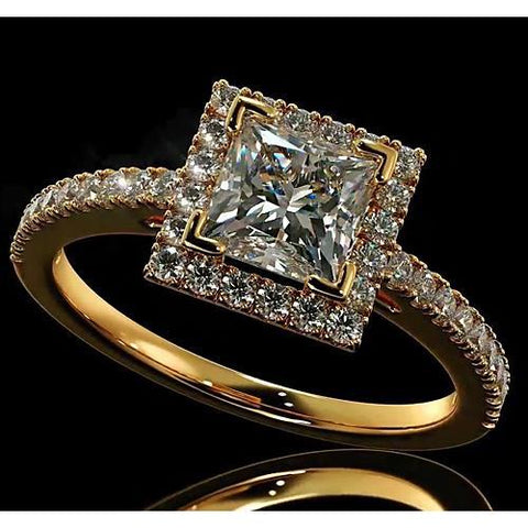 Diamond Engagement Ring 3.50 Carats Halo Princess Cut 14K Yellow Gold Halo Ring