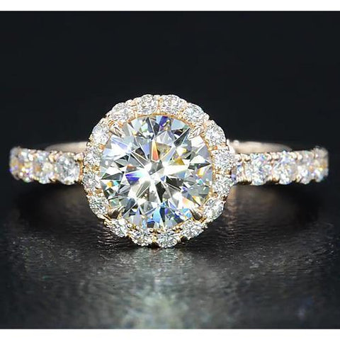 Diamond Engagement Ring 3.50 Carats Halo Round Diamonds Women Jewelry Halo Ring