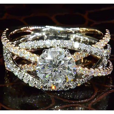 Diamond Engagement Ring 3.50 Carats Two-Tone Twisted Women Jewelry Engagement Ring
