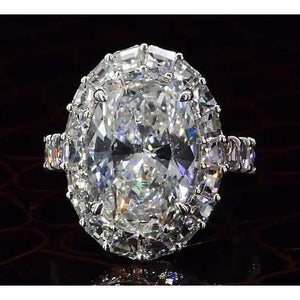 Diamond Engagement Ring 7 Carats Halo Oval Shape Women Jewelry Halo Ring
