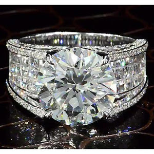 Diamond Engagement Ring Split Shank 9 Carats Women White Gold Jewelry Engagement Ring