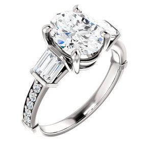 Diamond Engagement Ring Vintage Style 2.20 Carats Three Stone Solitaire Ring with Accents