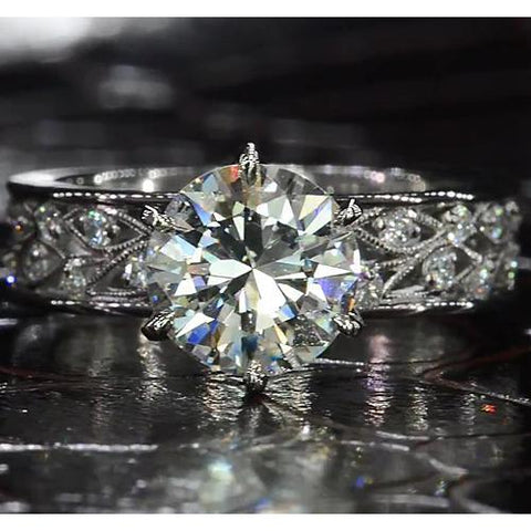 Diamond Engagement Ring Vintage Style 4 Carats Milgrain White Gold 14K Engagement Ring