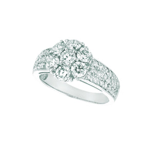 Diamond Flower Fancy Ring 2.02 Carats 14K White Ring