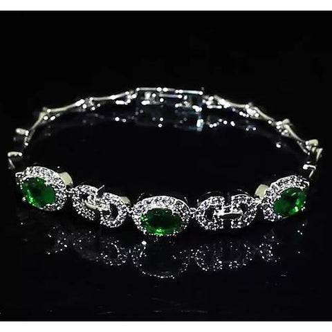 Diamond Green Emerald Bangle Women 8 Carats Jewelry Gemstone Bracelet