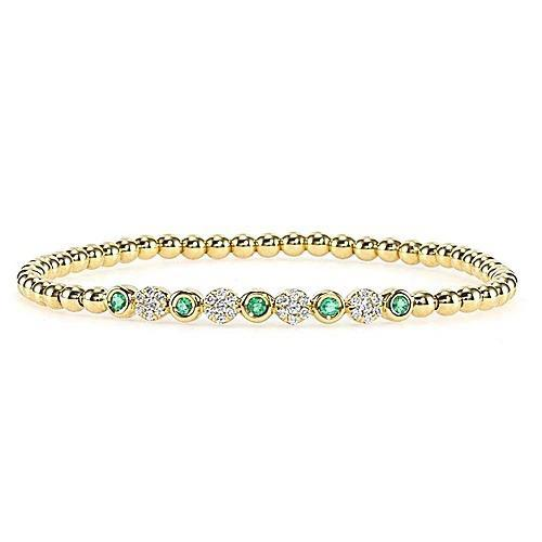 Diamond Green Emerald Tennis Bracelet 3.7 Carats F Vs1 Yellow Gold 14K Gemstone Bracelet