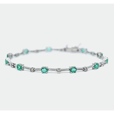 Diamond Green Emerald Tennis Bracelet 6.05 Carats F Vs1 White Gold 14K Gemstone Bracelet