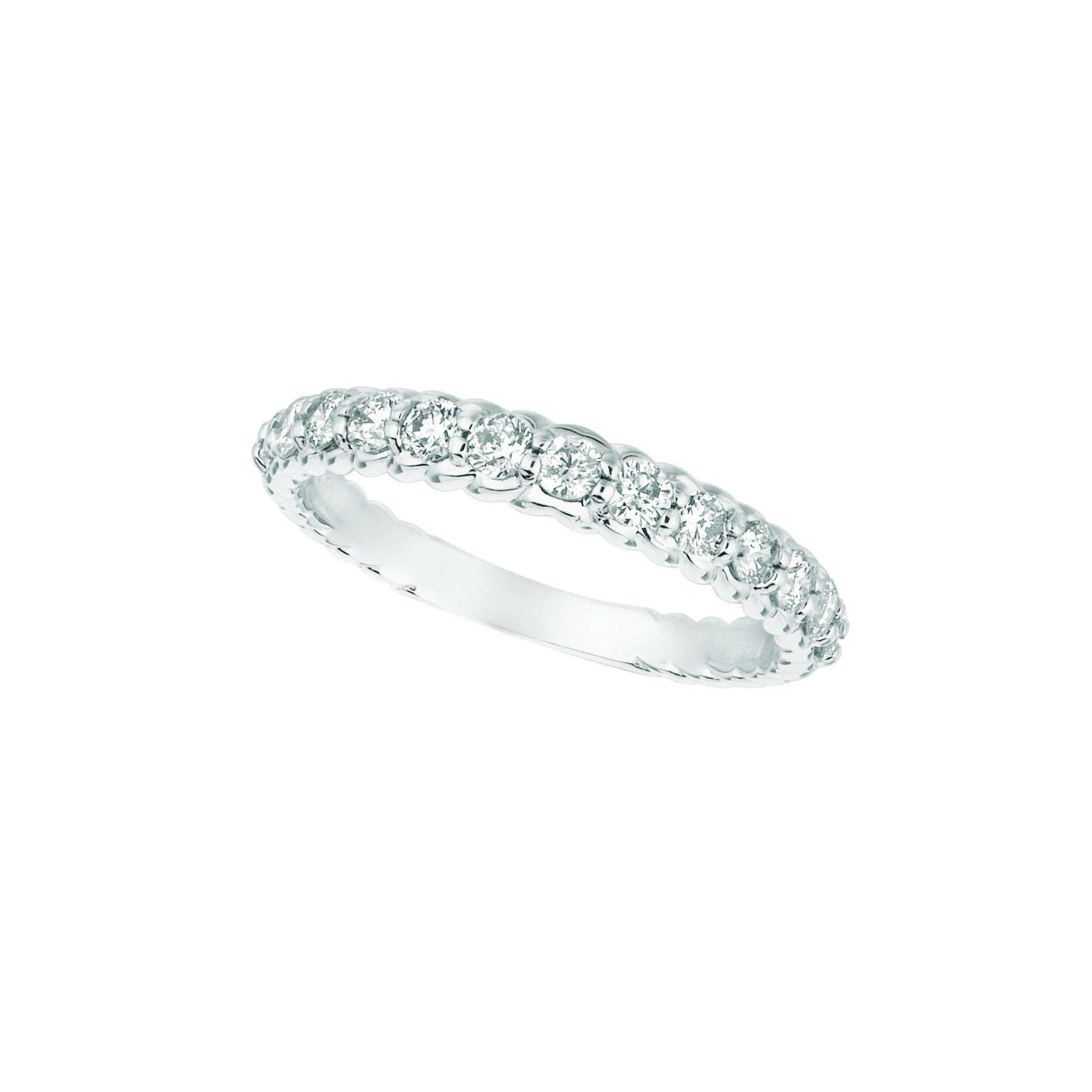 Diamond Half Eternity Band Ring 0.64 Carats 14K White Pave Half Eternity Band