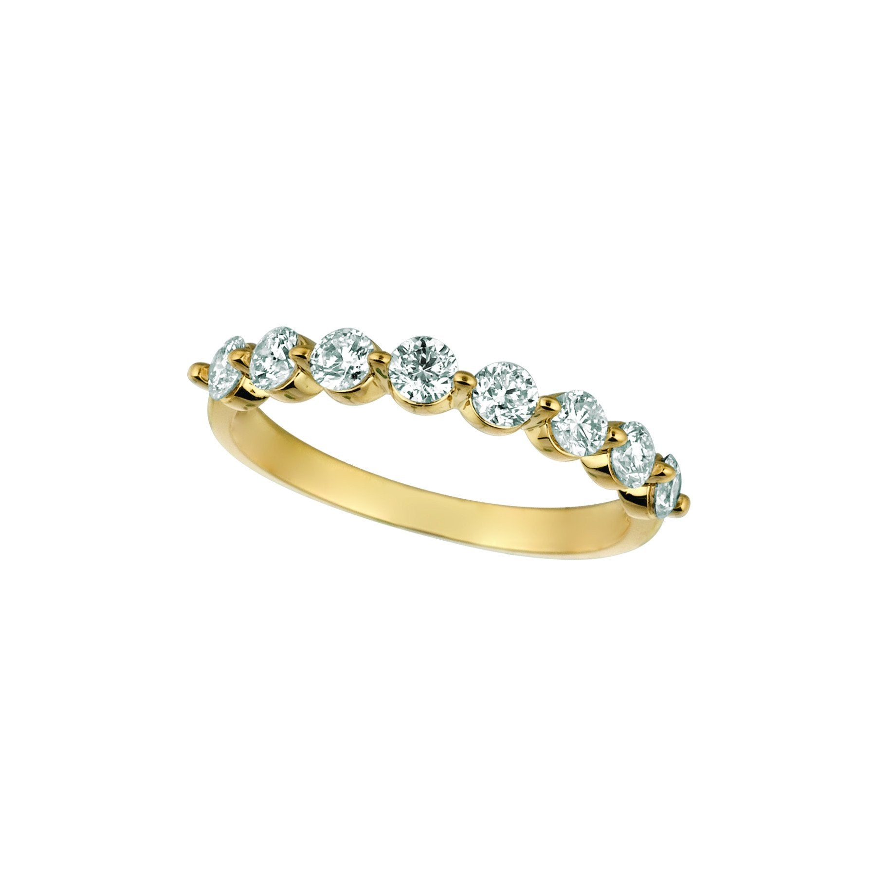 Diamond Half Eternity Band Ring 0.75 Carats 14K Yellow Half Eternity Band