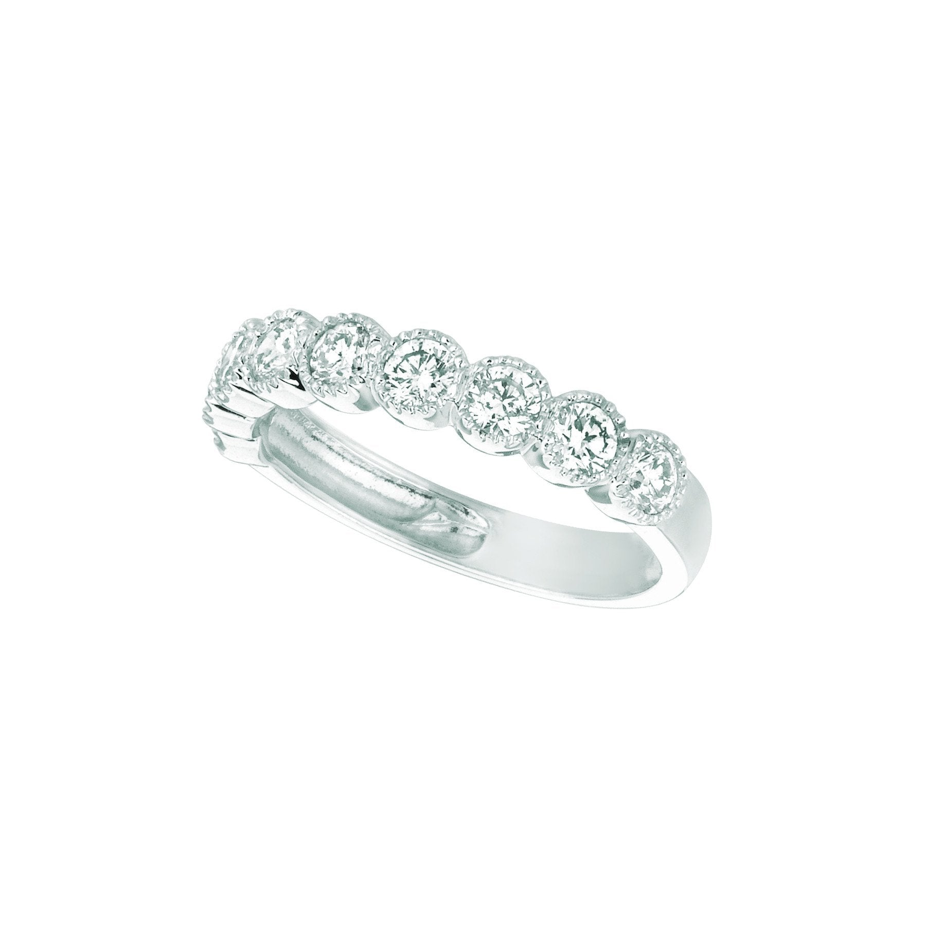 Diamond Half Eternity Band Ring 1.01 Carats 14K White Half Eternity Band