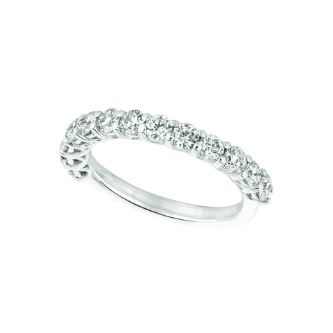 Diamond Half Eternity Band Ring 1.33 Carats 14K White Half Eternity Band