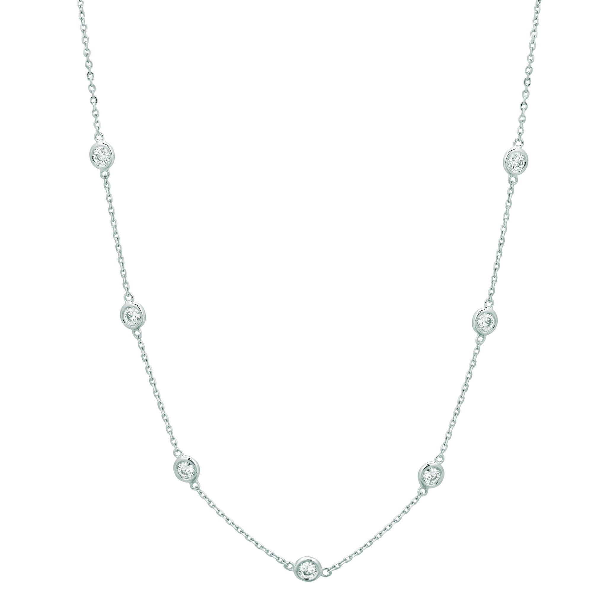 Diamond Half Way Around Chain Necklace 0.25 Carats 14K White Gold Necklace
