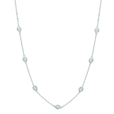 Diamond Half Way Around Chain Necklace 1.5 Carats 14K White Gold Necklace