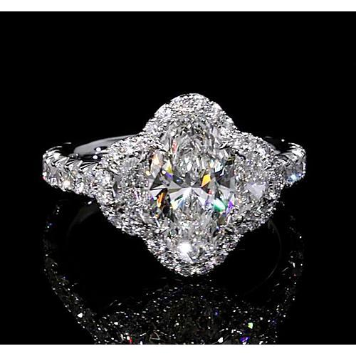 Diamond Halo Ring 10 Carats Pear Shape Accented White Gold 14K Halo Ring