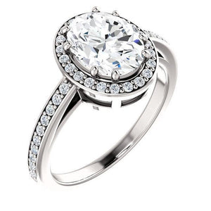 Diamond Halo Ring 3.70 Carats Oval Split Shank Women Jewelry Halo Ring