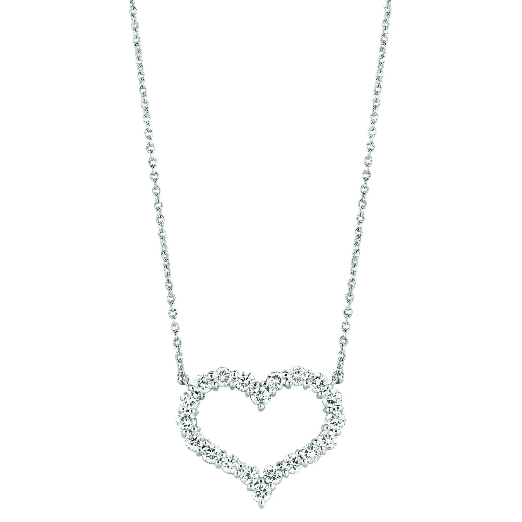 Diamond Heart Necklace Pendant 3.08 Carats 14K White Pendant
