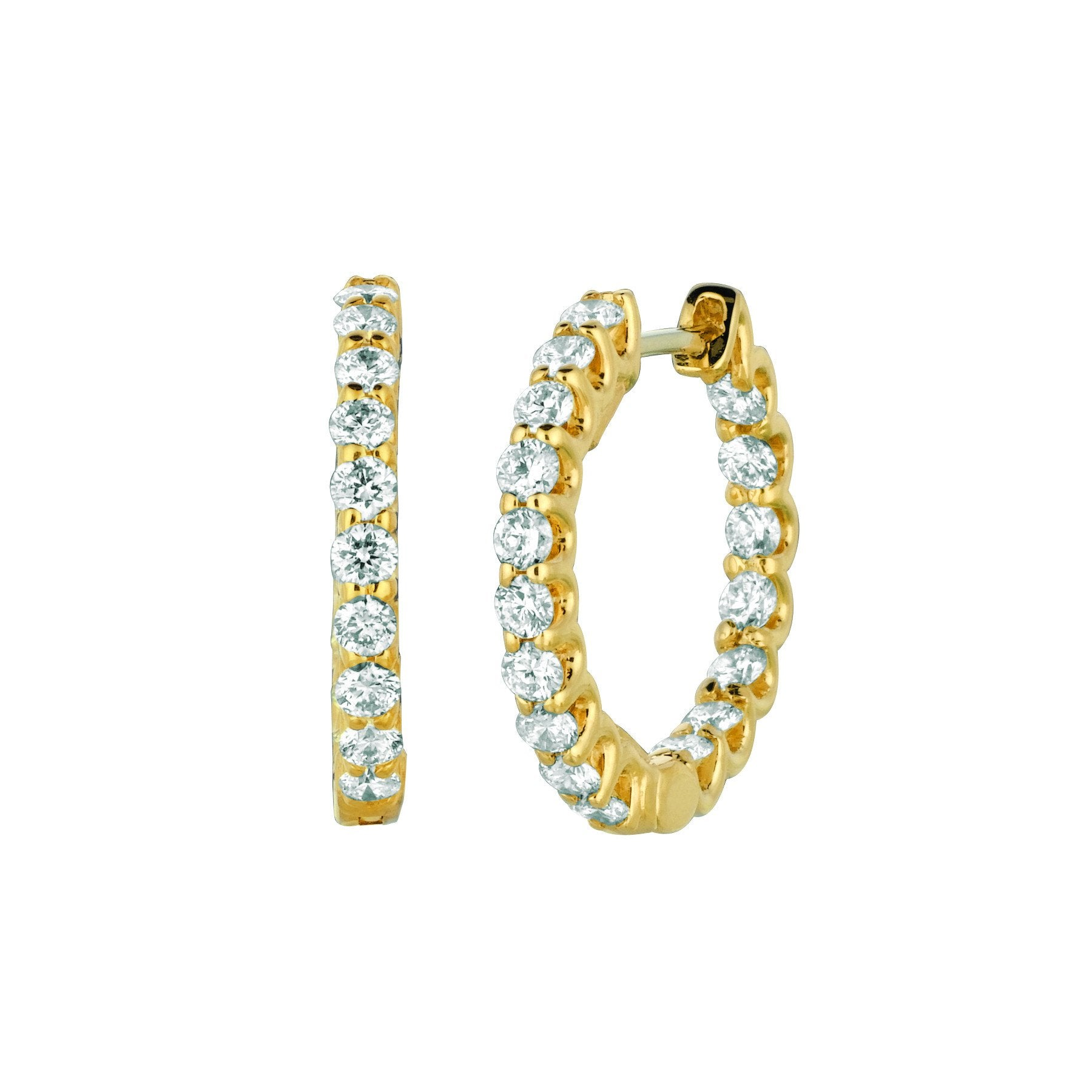 Diamond Hoop Earrings 1.36 Carats 14K Yellow Hoop Earrings
