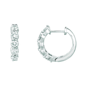 Diamond Hoop Earrings 1.51 Carats 14K White Hoop Earrings