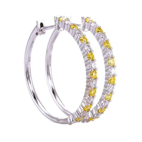 Diamond Hoop Earrings 4.80 Carats Yellow Sapphires Jewelry Gemstone Earring