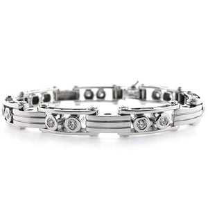 Diamond Men Bracelet Natural Round Cut  White Gold Jewelry 3 Ct Mens Bracelet