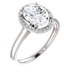 Diamond Oval Ring 2.50 Carats Halo White Gold 14K Halo Ring