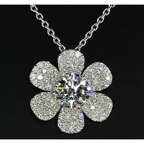 Diamond Pendant Flower 3.50 Carats White Gold 14K F Vs1 New Pendant
