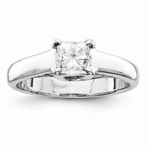 Diamond Princess Solitaire Ring White Gold 14K Size 7 Solitaire Ring