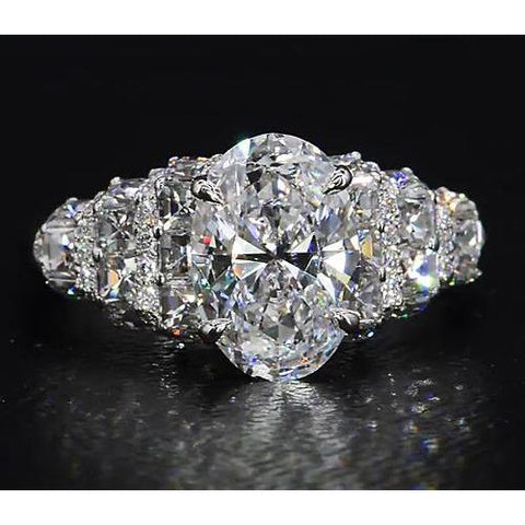 Diamond Ring 8 Carats Antique Style Claw Prong Setting Engagement Ring