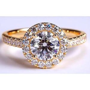 Diamond Ring Halo 3.50 Carats Yellow Gold 14K Halo Ring