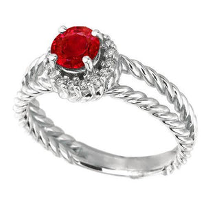 Diamond Ring Ruby and Diamonds 2 Carats White Gold 14K Jewelry Gemstone Ring