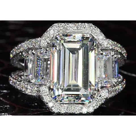 Diamond Ring Split Shank 9 Carats Emerald Cut Jewelry Engagement Ring