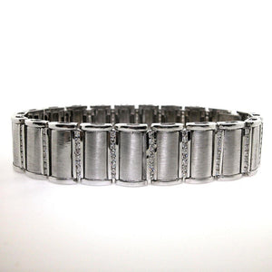 Diamond Round Shape 4 Carats Men Bracelet White Gold 14K Mens Bracelet