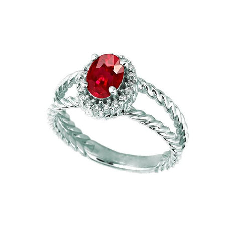 Diamond Ruby Ring 1.16 Carats Oval White Gold 14K Ring