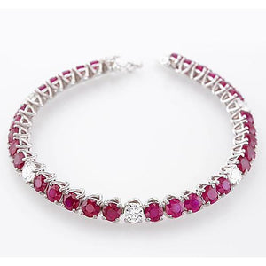 Diamond Ruby Tennis Bracelet 44.75 Carats Prong Set Women Jewelry F Vs1 Gemstone Bracelet