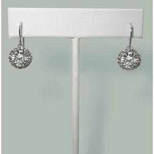 Diamond Shepherd Hook Dangle Halo  Earrings 5.02 Carats White Gold 14K Dangle Earrings