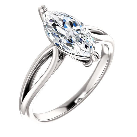 Diamond Solitaire Engagement Ring 2.50 Carats Split Shank Women Jewelry Solitaire Ring