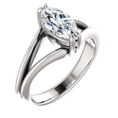 Diamond Solitaire Ring 1.50 Carats Double Claw Prong Setting Split Shank Jewelry New Solitaire Ring
