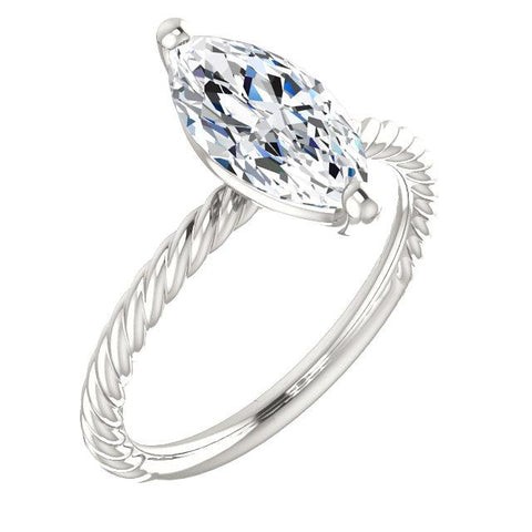 Diamond Solitaire Ring 2 Carats Twisted Rope Style Women Jewelry Solitaire Ring