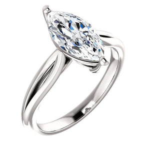 Diamond Solitaire Ring 2.50 Carats 14K White Gold Solitaire Ring