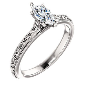 Diamond Solitaire Ring Marquise 1.50 Carats Milgrain White Gold 14K Solitaire Ring