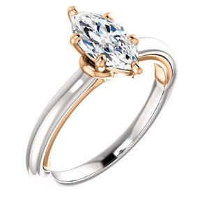 Diamond Solitaire Ring Marquise Cut 1 Carat Two Tone Ladies Jewelry Solitaire Ring