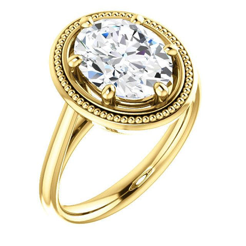 Diamond Solitaire Ring Vintage Style 4 Carats Yellow Gold 14K Solitaire Ring